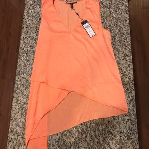 BCBG MAXAZRIA pastel orange asymmetrical tank top